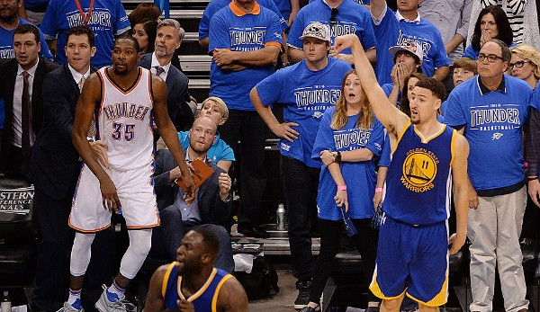 Platz 1: Klay Thompson - 11 Dreier (bei 18 Versuchen) - Warriors vs. Thunder 2016, Game 6