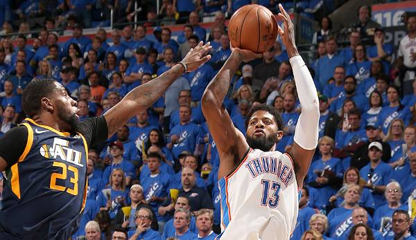 Platz 15: Paul George - 8 Dreier (bei 11 Versuchen) - Thunder vs. Jazz, Game 1