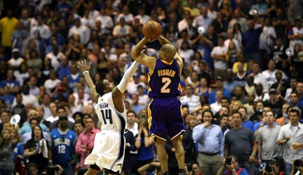 PLATZ 7: Derek Fisher - 285 Dreier in 259 Spielen - Los Angeles Lakers, Utah Jazz, Oklahoma City Thunder