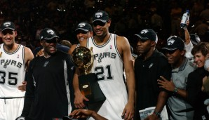 1999, 2003 & 2005: Tim Duncan - San Antonio Spurs - 4-1 vs. Knicks, 4-2 vs. Nets, 4-3 vs. Pistons