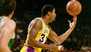 1980, 1982, 1987: Magic Johnson - Los Angeles Lakers - 4-2 vs- 76ers (2x), 4-2 vs. Celtics