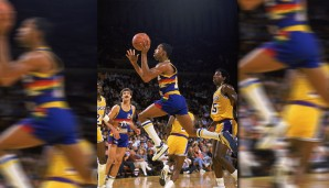 PLATZ 7: Fat Lever. Mit 31 Punkten, 16 Rebounds, 12 Assists und 6 Steals stellte die Triple-Double-Maschine der Denver Nuggets am 7. Januar 1988 gegen die Bulls seine Vielseitigkeit unter Beweis