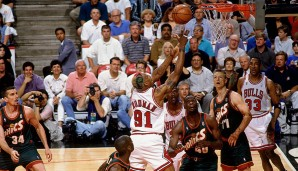 1996: Chicago Bulls (4-2 gegen Seattle Supersonics). Finals MVP: Michael Jordan