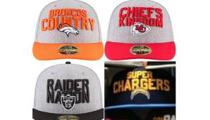 AFC WEST: Denver Broncos, Kansas City Chiefs, Oakland Raiders, Los Angeles Chargers.