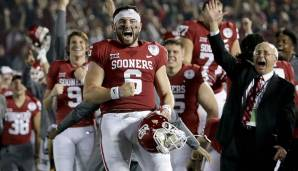 2. Baker Mayfield, Oklahoma: 404 Pässe, 4.627 Yards (11,5 Yards/Pass), 70,5% angekommene Pässe, 43 Touchdowns, 6 Interceptions.