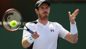 INDIAN WELLS, CA - MARCH 14: Andy Murray of Great Britain in action against Federico Delbonis of Argentina during day eight of the BNP Paribas Open at Indian Wells Tennis Garden on March 14, 2016 in Indian Wells, California. (Photo by Julian Finney...