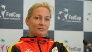 LEIPZIG, GERMANY - FEBRUARY 03:  Head coach Barbara Rittner attends a DTB press conference prior to the Fed Cup match against Switzerland at Messe Leipzig on February 3, 2016 in Leipzig, Germany.  (Photo by Thomas Eisenhuth/Bongarts/Getty Images)