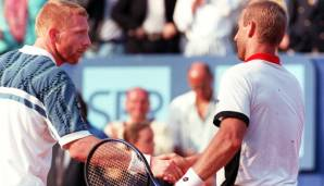 Episches Duell: Thomas Muster (r.) besiegt Boris Becker 1995 in Monte Carlo